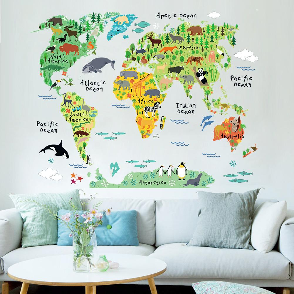 New Cartoon Animal World Map In English Childrens Living Room Education  Wall Sticker Kids Bedroom Wall Decoration Kindergarten Wall Decal Vinyl ...