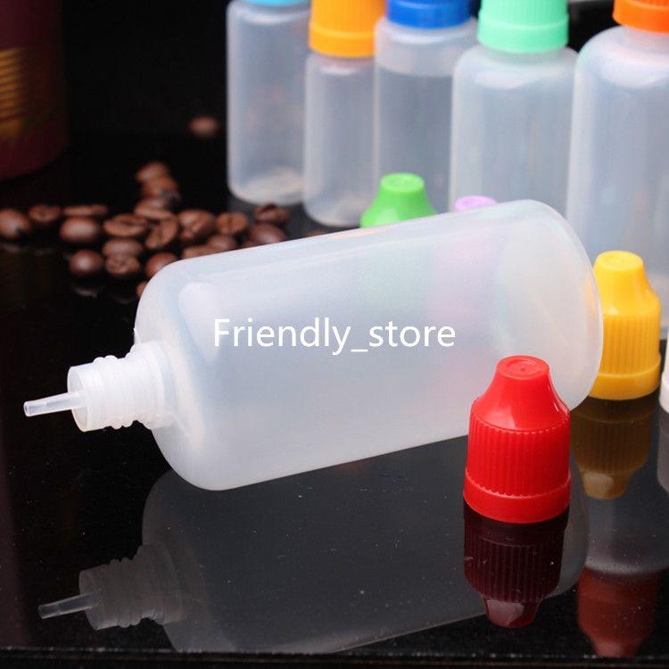 600pcs/lot Empty PE 100ml e liquid bottles 100ml Plastic Dropper Bottles With Colorful Child proof Cap E Cigarette Oil Bottle DHL Free