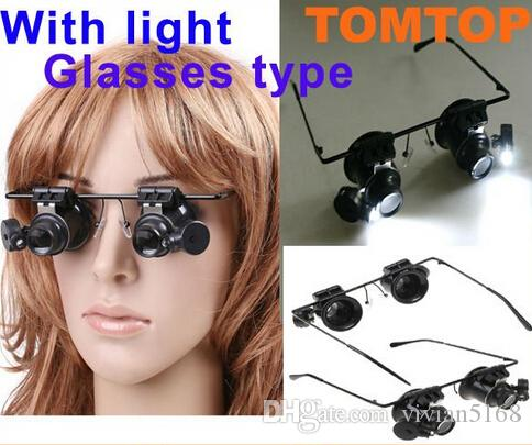 Retail 20X Magnifier Eye Glasses Jeweler Loupe Lens LED Light Watch Repair Tools Magnifying With Battery 9892A Free Shipping