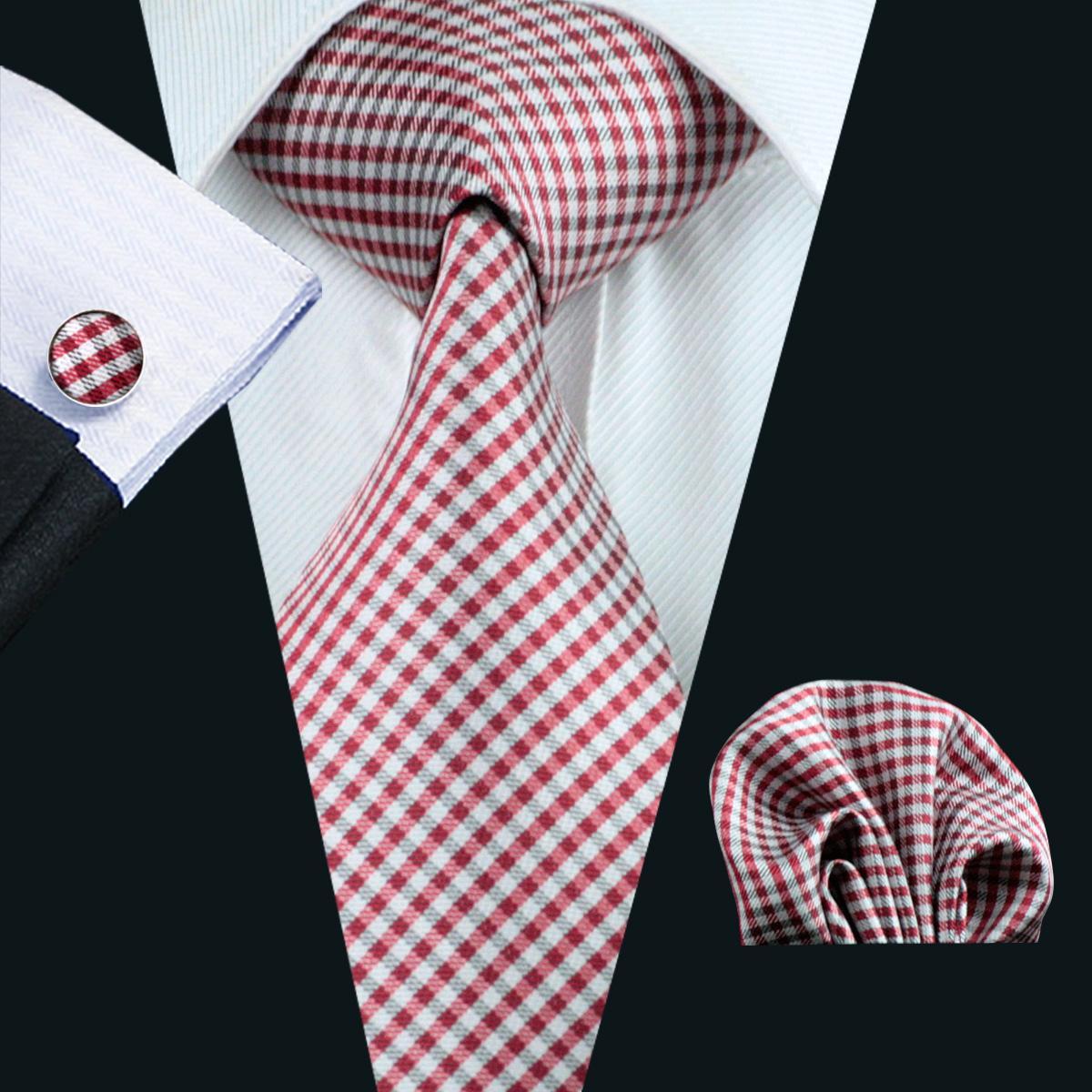 빨간 체크 실크 넥타이 남성용 포켓 스퀘어 커프스 단추 세트 망 자카드 짠 비즈니스 공식 넥타이 8.5cm 너비 캐주얼 세트 N-1037