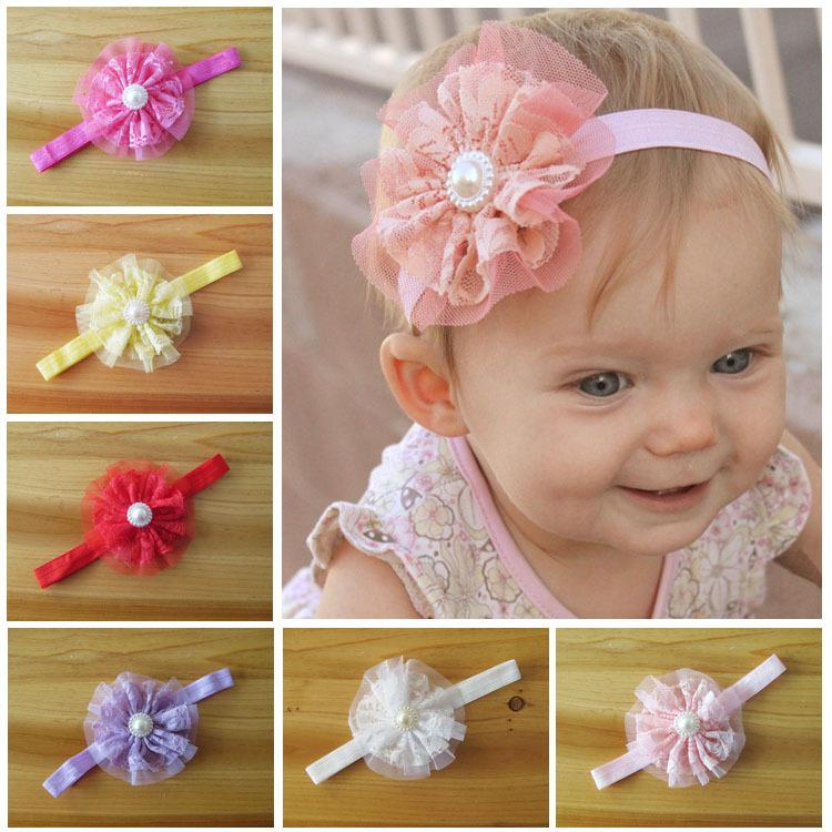 Baby Headbands Girls Lace Flowers /& Pearl Hair Bands Pink /& White ~ Soft Touch