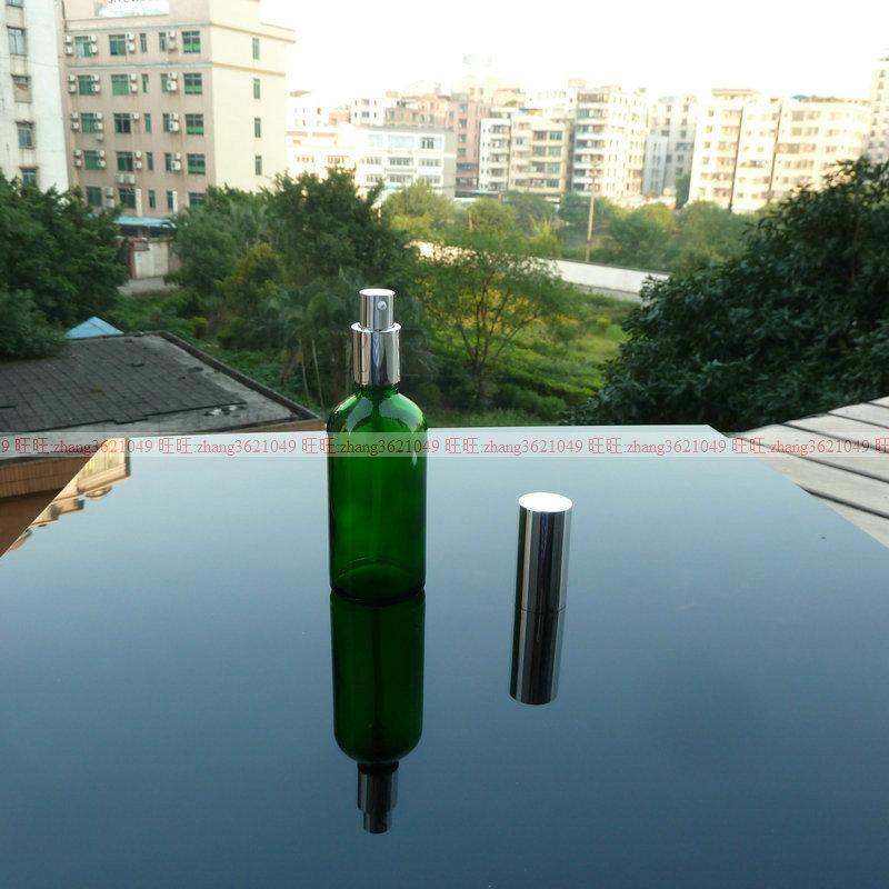 100ml 녹색 유리 로션 병 알루미늄 반짝 이는 실버 pump.for 로션과 에센셜 오일. 로션 용기