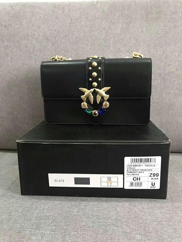 pick up 9b10e 19245 2018 Fashion Messenger Bag Pinko Women Bag Swallow Pack Denim Bags Leather  Chain Shoulder Bag Sheepskin 11 Womens Bags Black Handbag From ...