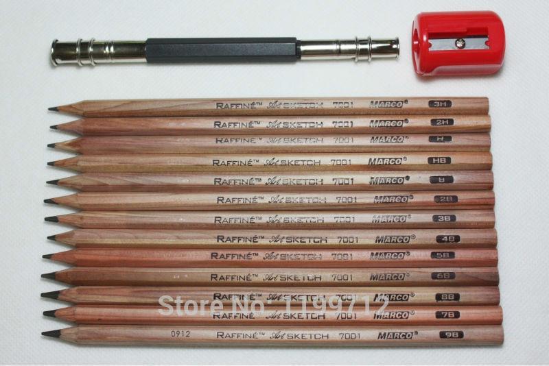 13 Marco Sketch Drawing Pencil 3H 2H H HB B 2B 3B 4B 5B 6B 7B 8B 9B Set Extender