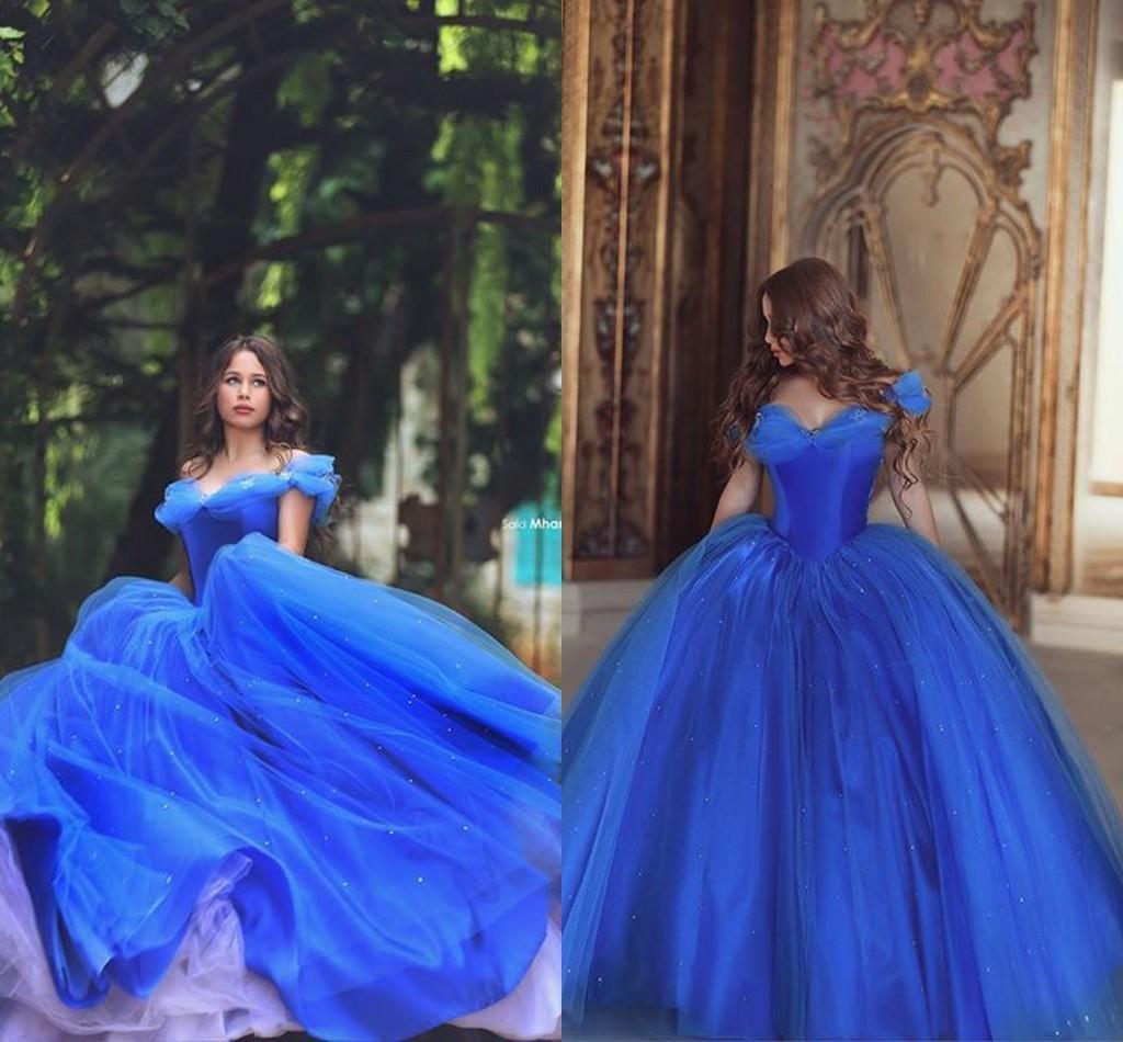 Cinderella Ballkleid Prom Kleider Prinzessin vor Schulter Tüll Rüschen Perlen Abendkleider Sonderanfertigte Eisblau Formal Pageant Kleider