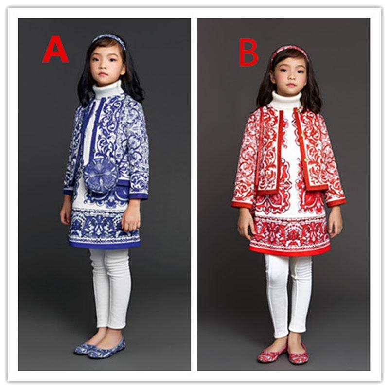 2016 Autumn Winter Girls Jacket Outwear Majolica Printed Kids