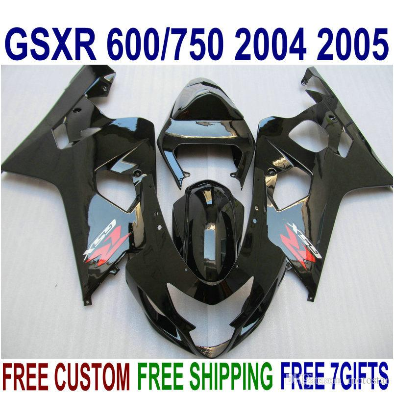 Fairings bodywork set for SUZUKI GSXR600 GSXR750 04 05 K4 GSX-R 600/750 2004 2005 all glossy black plastic fairing kit QE42