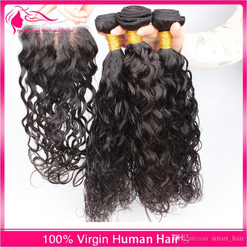 레이스 클로저 4pcs / Lot 9A 페루 버진 인간의 머리카락 묶여 레이스 클로저와 함께 4x4 무료 중간 세 부분
