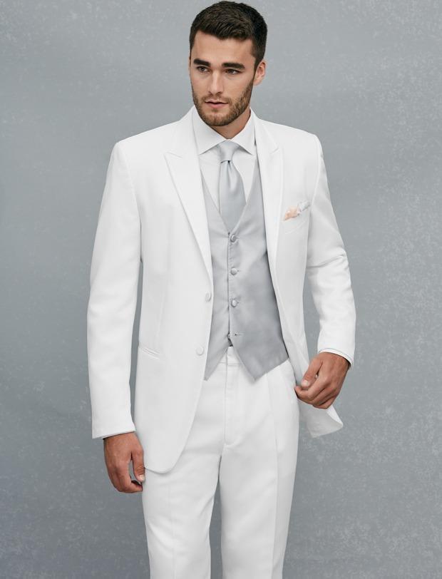 Custom Made Two Button White Groom Tuxedos Peak Revroom GroomsMen Mens Bruiloft Prom Suits (jas + Broek + Vest + Tie) H287