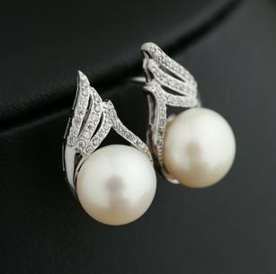 Hot sale Oblate 10-11mm natural pearl earrings 925 silver inlay zircon HFY-1212