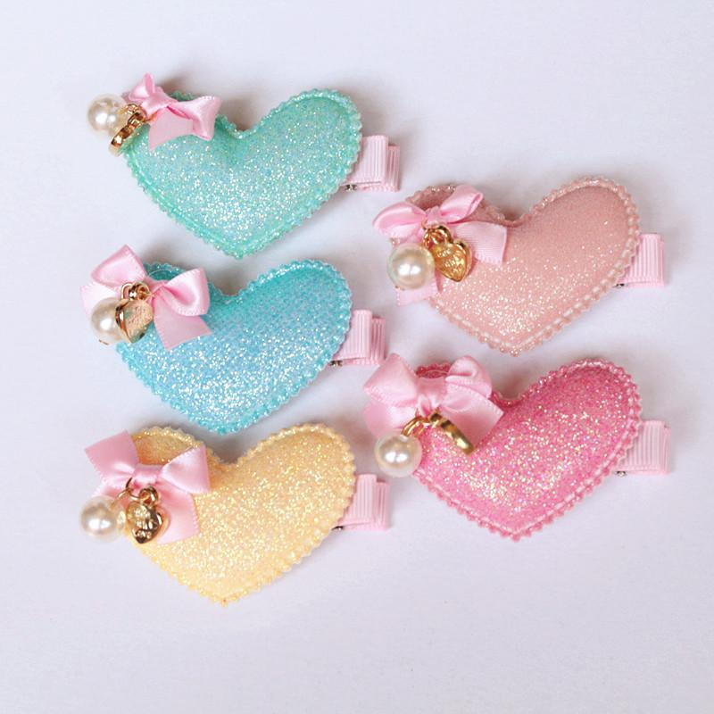 15pcs /Lot Korea Glitter Felt Leather Hearts Hair Clip With Mini Ribbon Bow Hair Accessories Shinning Synthetic Top Quality