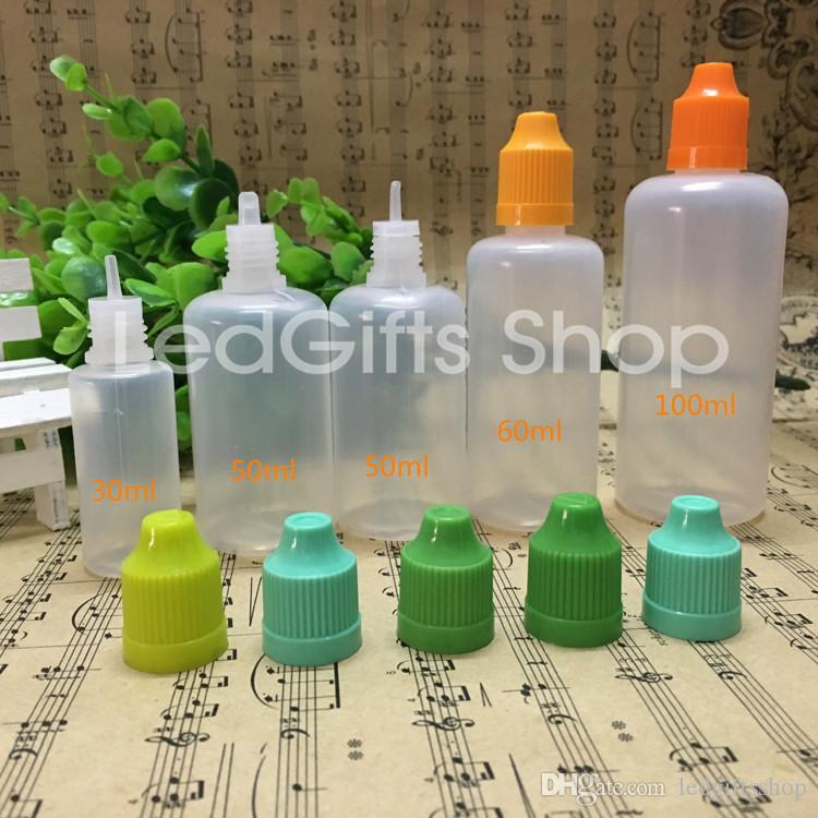 LDPE Soft Style Needle Bottle 50ml Plastic Dropper Bottles Child Proof Caps PE E Liquid Empty Bottle