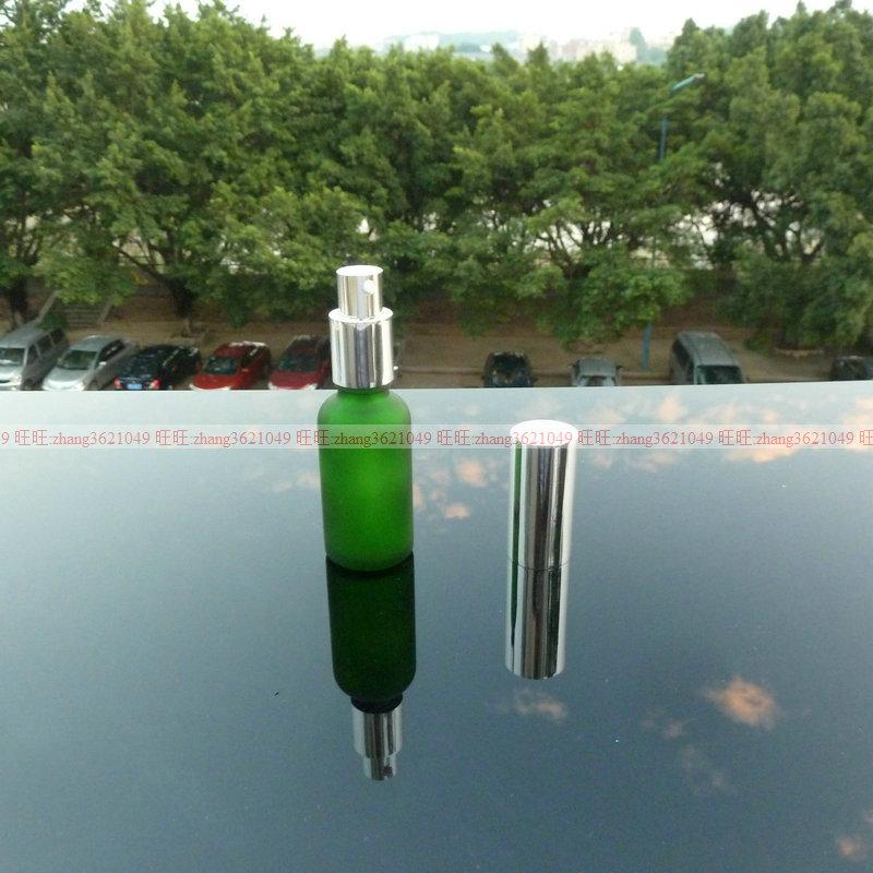 30ml 녹색 광택 젖빛 유리 로션 병 알루미늄 반짝 이는 실버 pump.for 로션과 에센셜 오일. 로션 용기