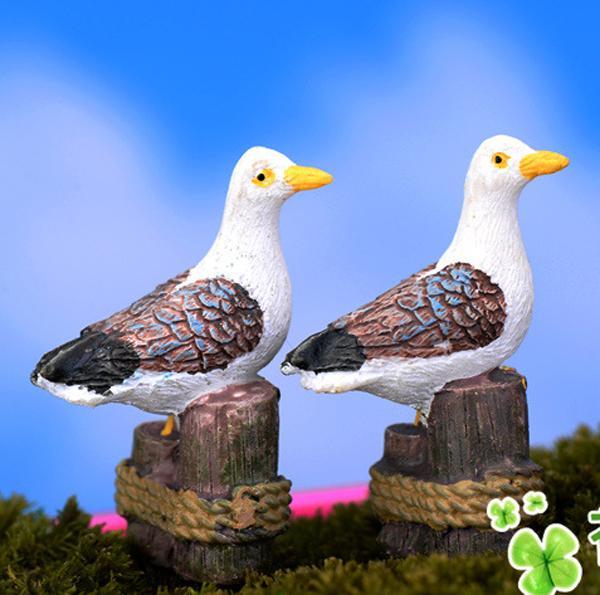 5pcs Miniature colombe artificiali resina dell'uccello Decorazione del giardino Mini mondo Paesaggio Terrario Ornamento Zakka Seagull Craft