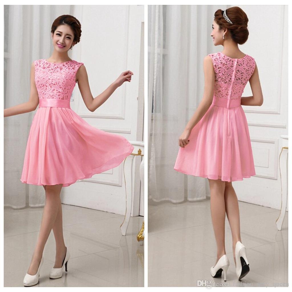 2015 New Women Lace Chiffon Fold Dress Elegant Fashion White Pink O ...