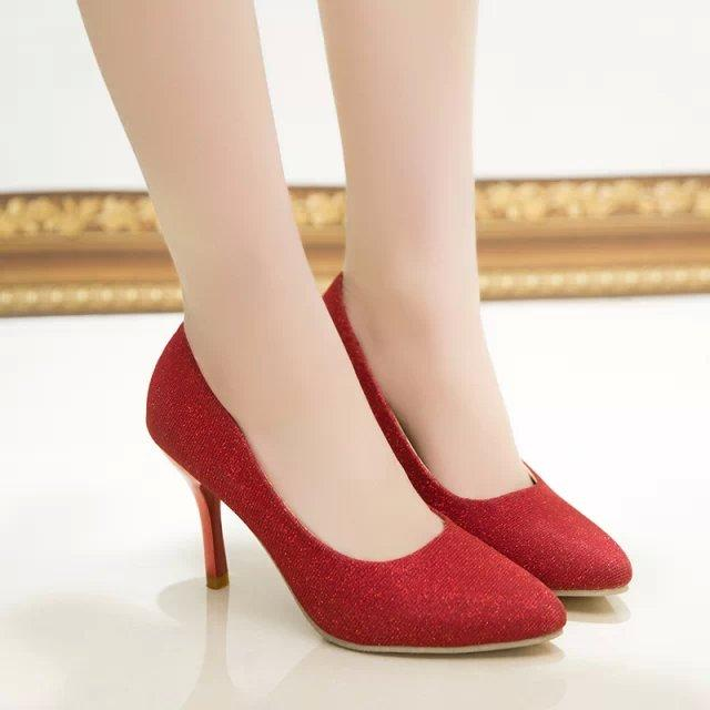 2015 new spring and autumn big size shoes Scrubs OL professional wedding shoes pointy black shoes red stiletto high heels