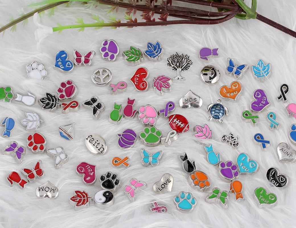 madalyon Charms Yüzer Cam Yaşam Bellek Yüzer Locket Mix Tasarım Karışık Charms Takı için Emaye Kelebek Köpekler Paw Print Kediler