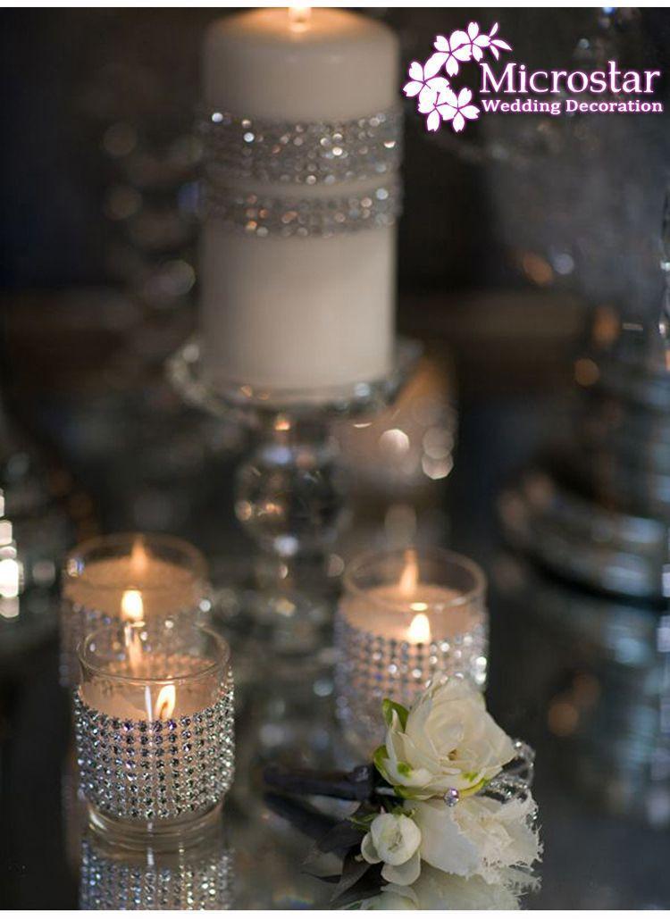 Gold Deco Mesh Trim Wedding Decoration Bling Diamond Mesh Wrap Birthday Cake Roll Sparkle Party Rhinestone Crystal Ribbons (5)
