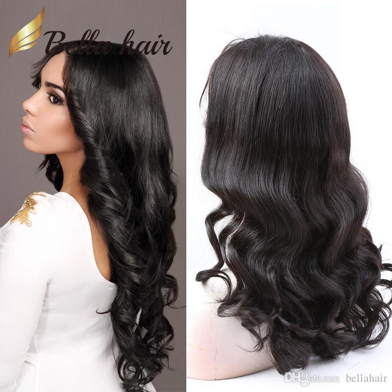 Cheap кружевные фронтские парики девственники человеческих волос кружевные парики для черных женщин натуральный цвет свободные вьющиеся волосы парики средняя крышка bellahair