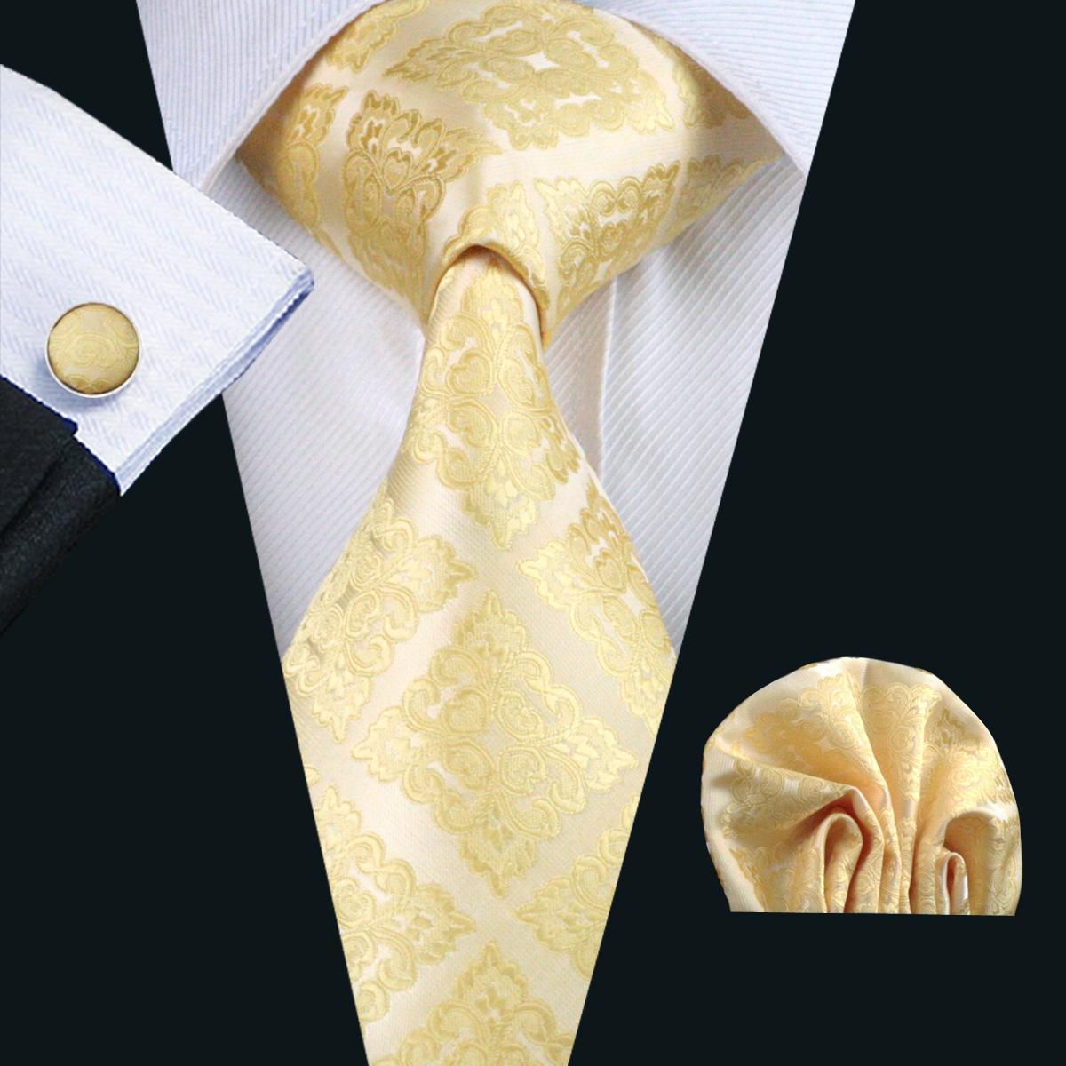 Bright Yellow Cravatta in seta per gli uomini Hanky gemelli Set Mens Lavorato a telaio convenzionale di affari della cravatta 8,5 centimetri Larghezza casual Set N-1036