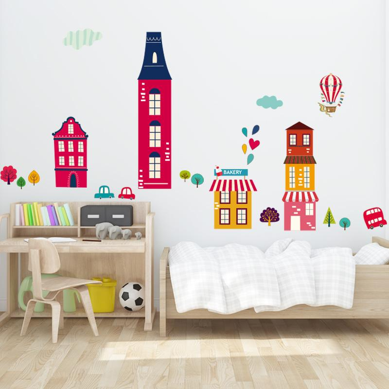 Loving Town Wall Decal Sticker Home/Store Decor DIY Removable Art Vinyl Mural For Kids Room/TV Background/Bedroom QTB682 Cartoon