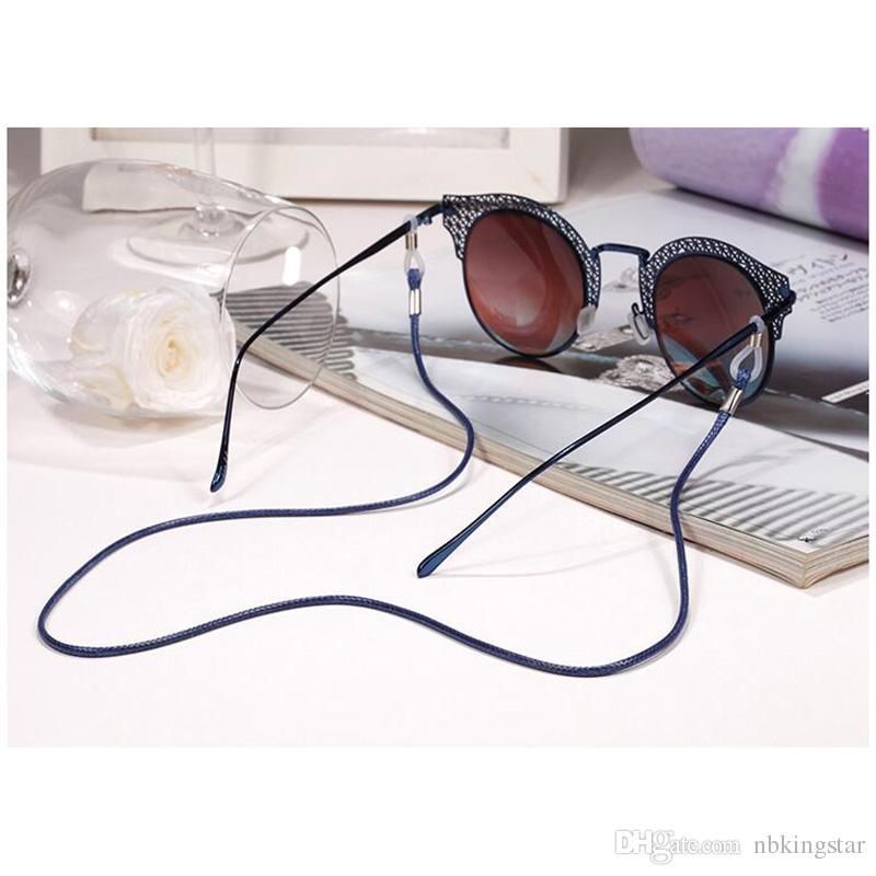 PU-Leder-Brillen-Kabel-justierbarer Endglas-Halter-bunte lederne eyewear Umhängeband-Schnur 60pcs / lot geben Verschiffen frei