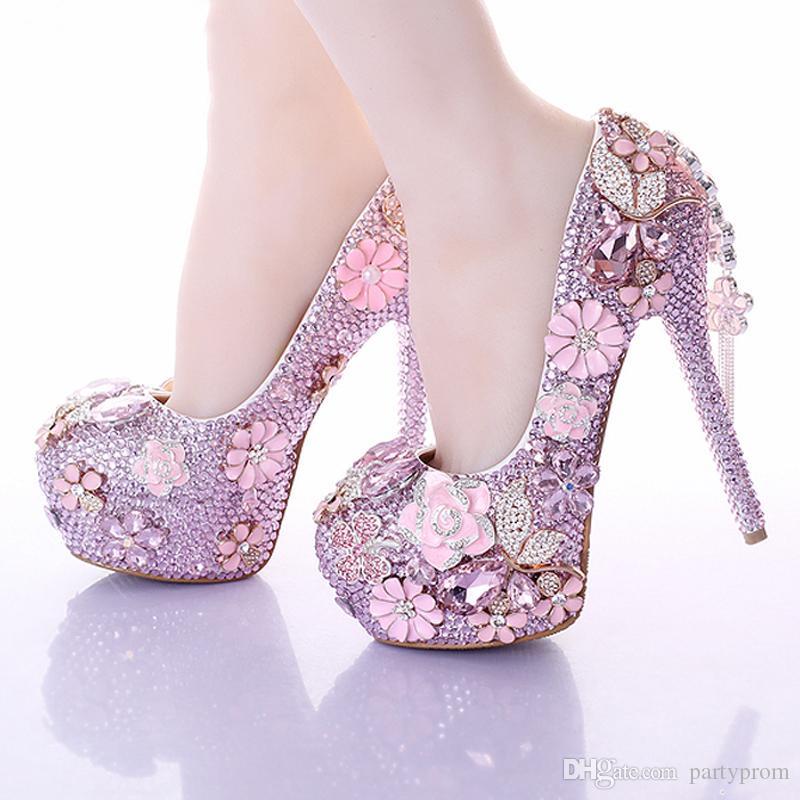 Newest Fashion Pink Wedding Dress Shoes Luxury Bridal Shoes Crystal Rhinestone Shoes Handmade Unique Design Shoes Free Shipping