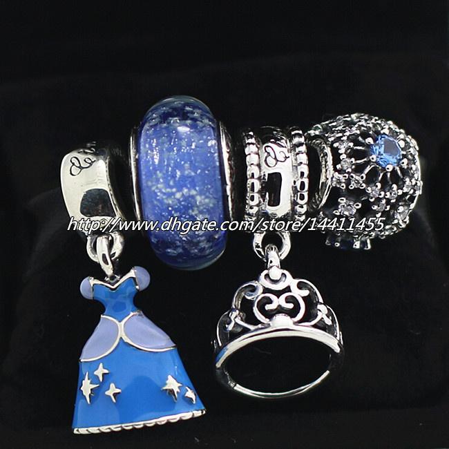 925 Ayar Gümüş Takılar ve Murano Cam Boncuk Seti Avrupa Pandora Takı Charm Bilezikler-Külkedisi Uyar