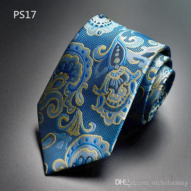 Trajes de los hombres de la vendimia Paisley corbata de poliéster de seda impresa a cuadros corbata Gravata floral para hombres Vestidos de negocios novio Corbata