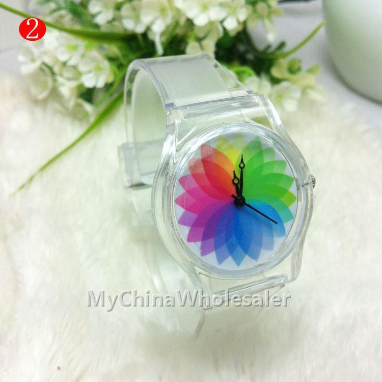 새로운 시계 투명 밴드 케이스 과일 인쇄 다른 패턴 디자인 고무 실리콘 패션 여자 소년 실리콘 쿼츠 시계
