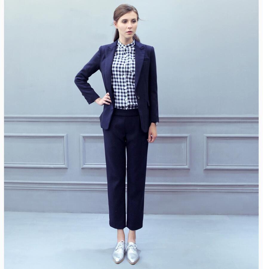 Frauen Anzug Wolle gemischt Winter Mode Business-Anzug gut aussehend ein Korn Schnalle benutzerdefinierte reine Farbe Damen Anzug
