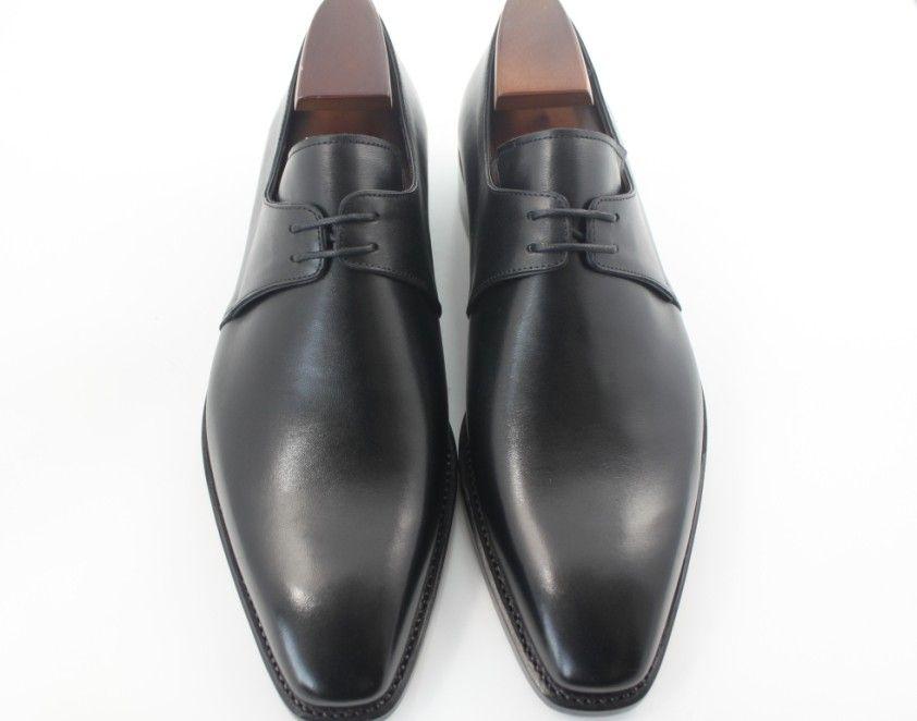 Herren Kleid Schuhe Herrenschuhe Custom handgemachte Schuhe Oxford Schuhe Derby Schuhe Echtes Kalbsleder Farbe schwarz HD-094