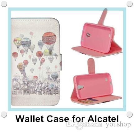 Carteira Floral Vintage Leather PU flip suporte do telefone caso capa para Alcatel One Touch Pop C3 / C7 / C9