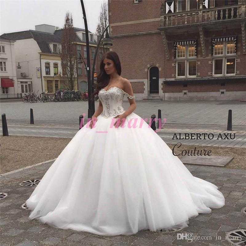Off Shoulder Cinderella Wedding Dresses China 2015 Ball Gown Rhinestone New Korean Princess Islamic