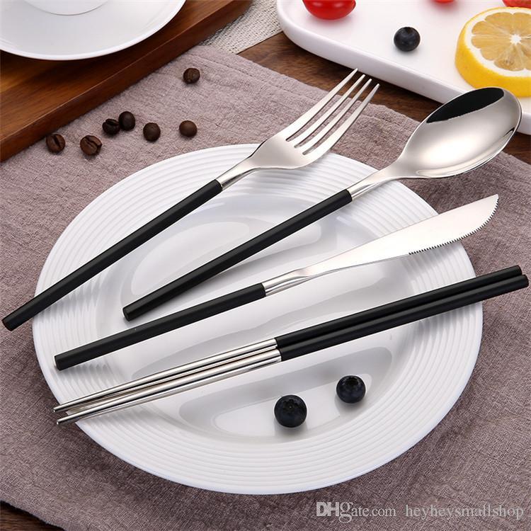 2018 prata preto colher de aço inoxidável pauzinhos faca garfo talheres de prata preto talheres talheres restaurante hotel