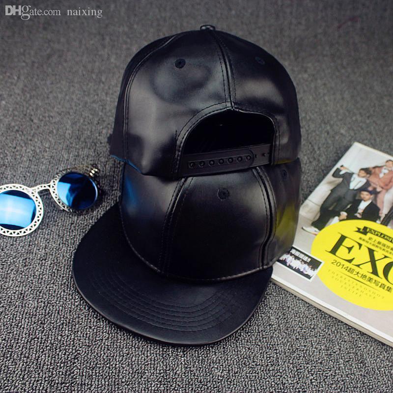 도매 - 겨울 PU 가죽 야구 모자 바이 커 트럭 야외 스포츠 모자 남자 여자 모자 및 모자 도매