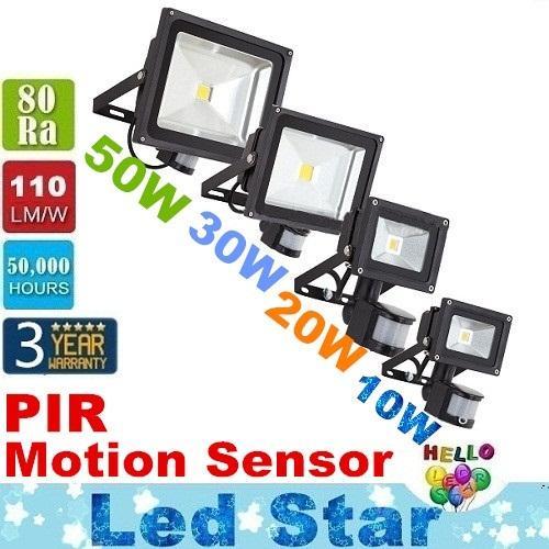 モーションセンサーのスポットライトが付いている10W 20W 30W 50Wの100WのPIR LEDの洪水ライトの防水屋外LEDのフラッドライトの暖かい/冷たい白AC 85-265V