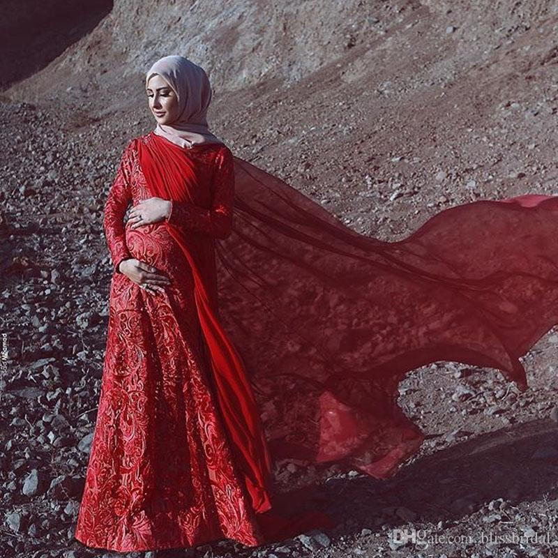 Elegant Pregnant A-Lining Muslim Long Sleeve Evening Dresses Red Wrap Applique Lace Pregnant Party Dresses Floor Length Prom Gown
