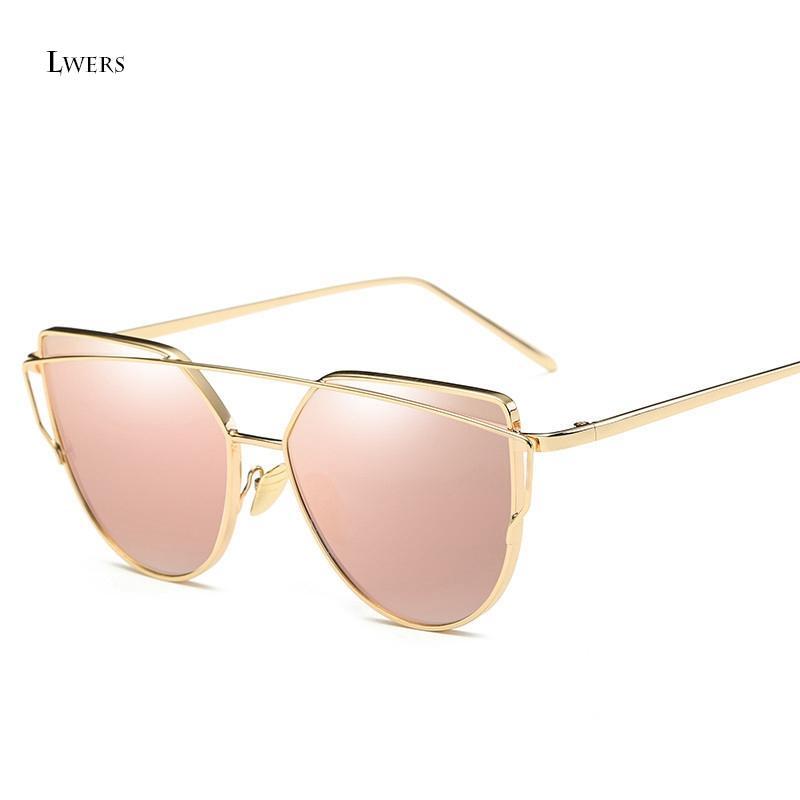 Wholesale- 2017 New Cat Eye Sunglasses Women Fashion Twin-Beams Rose Gold Mirror Cateye Sun Glasses For Female