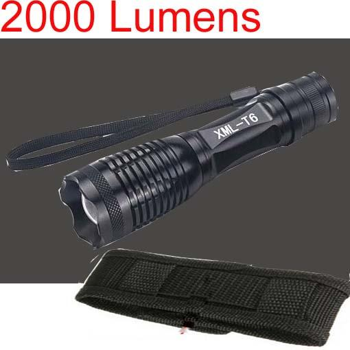 Free Epacket,New Arrival,2000 Lumen 7 Mode E8 Zoomable CREE XM-L XML T6 LED Flashlight Torch Zoom Lamp Light+Holster Bag C8 holster