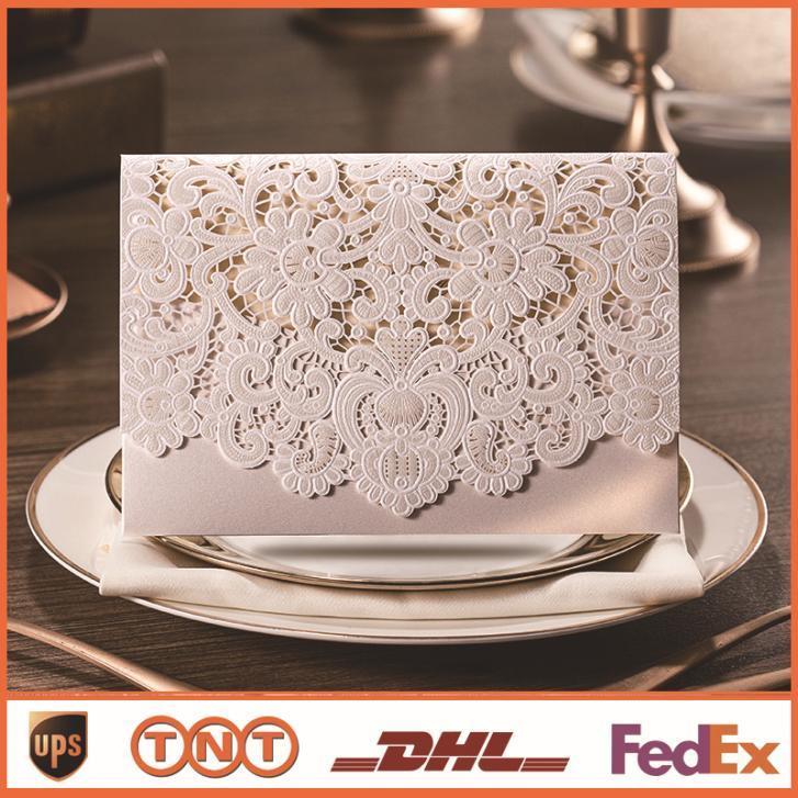 Cartão de convites de casamento corte a laser com flores em relevo Cartões de casamento impressão de convite a casamento com selo Envelope CW073