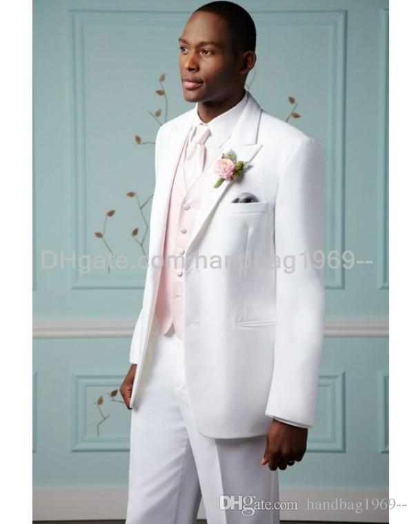 جديد أسلوب زرين الأبيض العريس البدلات الرسمية الذروة التلبيب أفضل رجل رفقاء العريس رجل الدعاوى الزفاف (سترة + سروال + سترة + التعادل) AA799