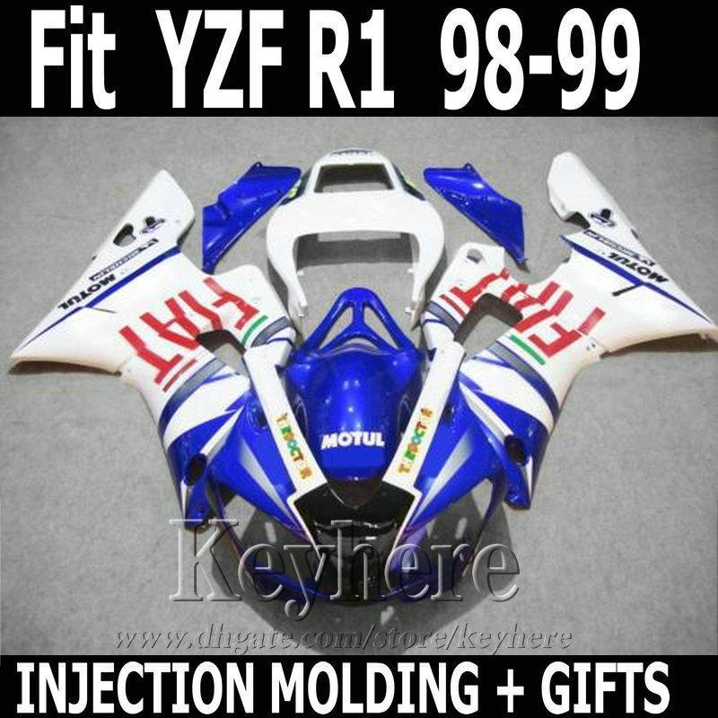 Stampaggio a iniezione di qualità migliore per kit carena YAMAHA R1 1998 1999 carenature FIAT blu YZF R1 bianco 98 99 SD19