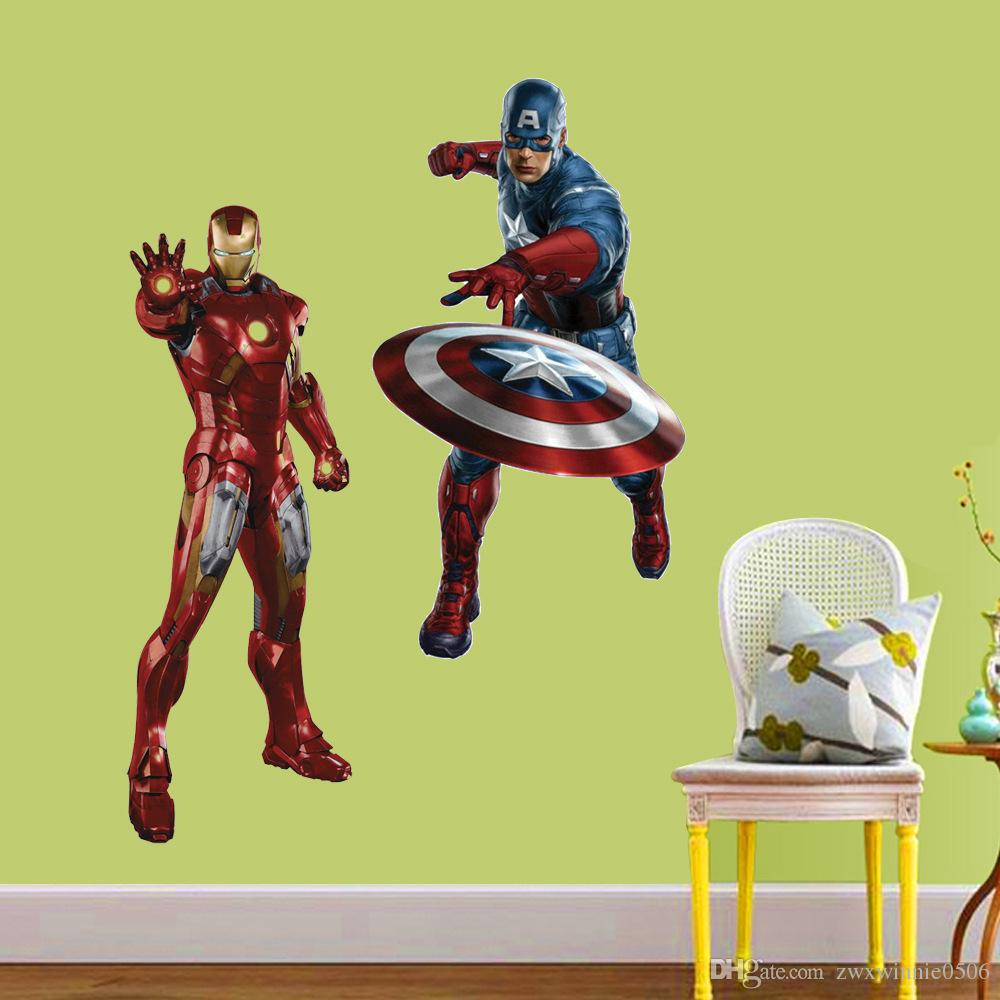 Cool 50X70Cm Creative 3D Pvc Wall Sticker Super Hero Captain America Iron Man Thor Hulk Black Window Pattern Home Decor Kids Bedroom Wall Phrases Stickers Pabps2019 Chair Design Images Pabps2019Com