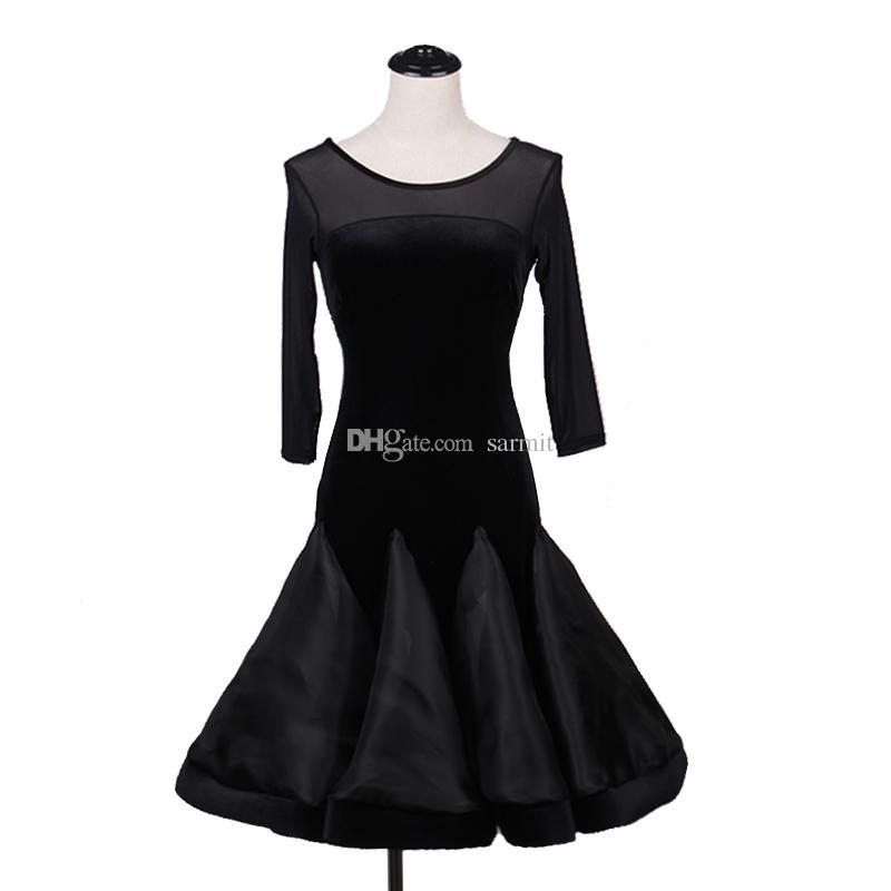 Kadife Latin Dans Elbise Kadınlar Salsa Samba Dans Elbise Tango D0189 Siyah ile Net Kollu Büyük Sheer Hem