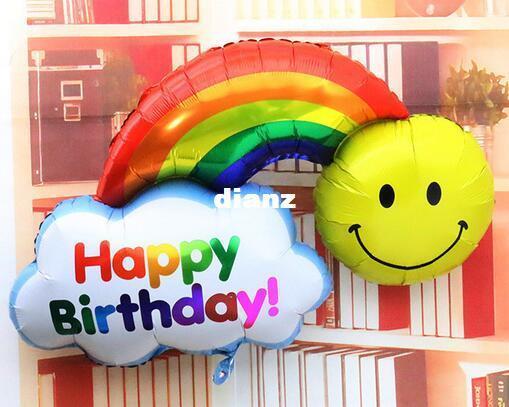 Palloncini foil 98 * 65cm double side Buon compleanno Decorazione di cerimonia nuziale Sorriso di grandi dimensioni Volto Palline arcobaleno Globos Buona giornata