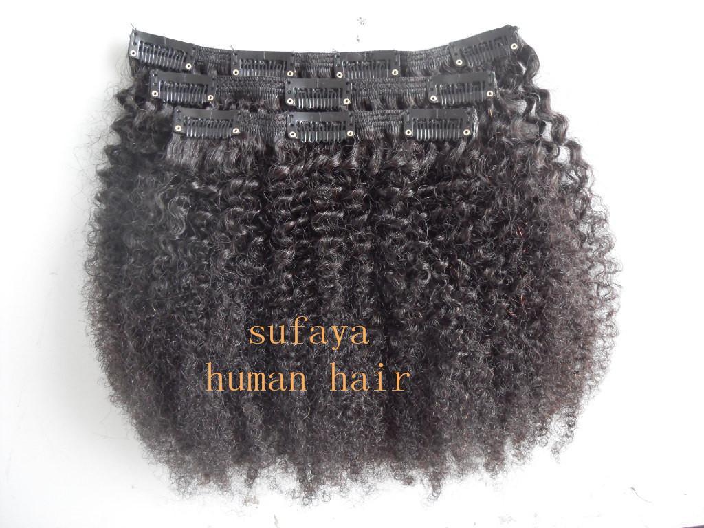 4b / 4c 몽골어 처녀 아프리카 곱슬 머리 곱슬 머리 연장에 머리카락 클립 처리되지 않은 자연 검은 색 인간의 확장은 염색 수 있습니다