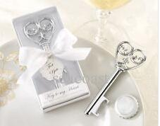 100pcs Key to My Heart Simply Elegant victorian wine bottle opener Barware Tool wedding Party favor gift Silver With White Retail Box