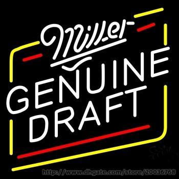 "Hot Miller Genuine Draft Beer Neon Sign commercial sign BEER LAMP REAL NEON GLASS BEER BAR PUB LIGHT SIGN 17""X14"""