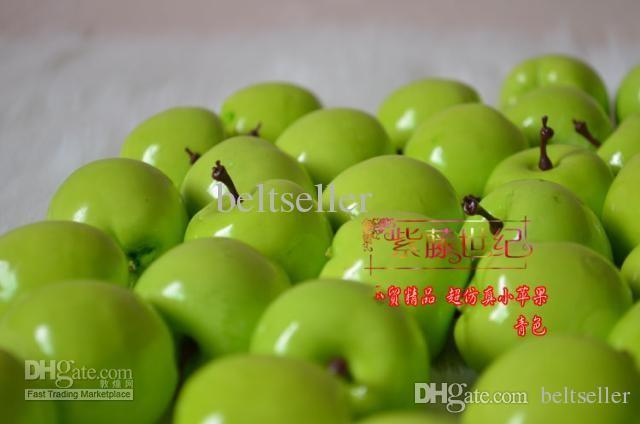 100 قطعة / الوحدة الاصطناعي التفاح الأخضر محاكاة البلاستيك التفاح المنزل الديكور زفاف العرض شحن مجاني